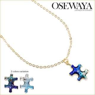 💖預購💖韓系飾品 宇宙星空藍海拼圖不規則造型項鍊 兩色可選