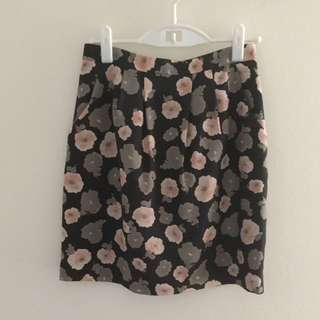 Skirt - Grey Flower Print, Size M (Japan size)