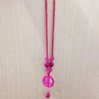 Shocking Pink Peace Necklace