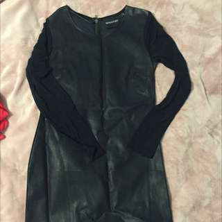 MINKPINK LEATHER LOOK AND MESH DRESS - SIZE L