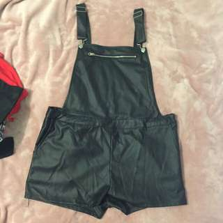 SUPRE LEATHER LOOK OVERALLS - SIZE XL