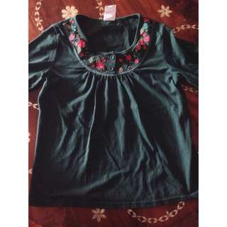 Green Embroidered Long Sleeved Top