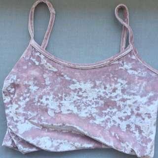 Vintage Pink Velvet Singlet