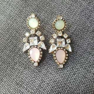 Studded Gem Dangle Earrings