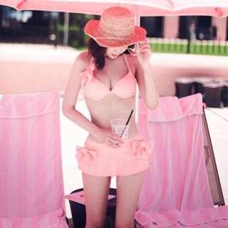 現貨 比基尼 韓版 泳裝 泳衣 日系 粉紅 集中 內襯 兩截式 蝴蝶 女朋友 禮物 女友