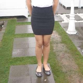 Black Bodycon Studded Skirt