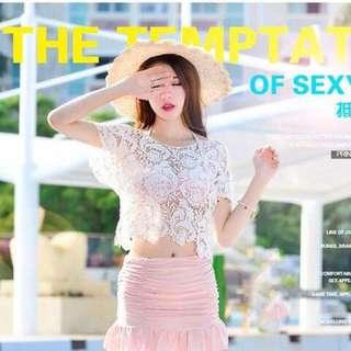 現貨 比基尼 兩件式 粉色 韓式 顯白 甜美 三件式 泳衣