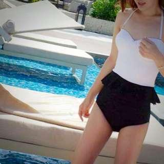 現貨 連身泳裝 泳衣 韓版 白 泳裝 夏天 集中