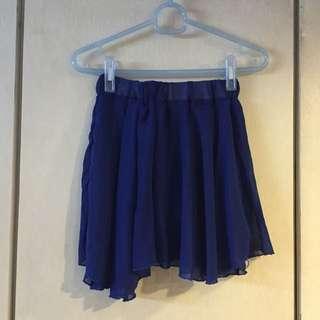 寶藍不規則短紗裙
