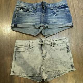 Moto Denim Shorts And F21 Denim Shorts