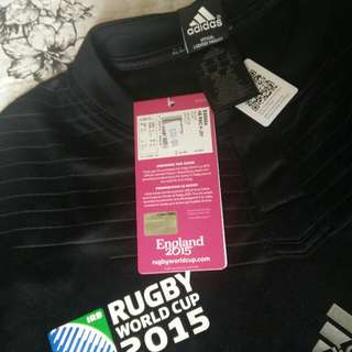 Genuine Adidas All Black Rugby World Cup 2015 Replica Shirt Jersey