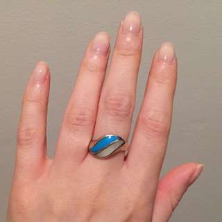 Sterling Silver Pearl And Turquoise Ring Size 7