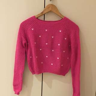 Pink Heart Crop Jumper