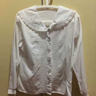 White Long Sleeves With Round Collar