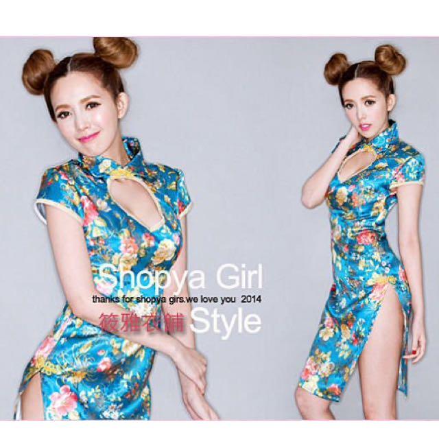 超美鳳仙領高衩旗袍