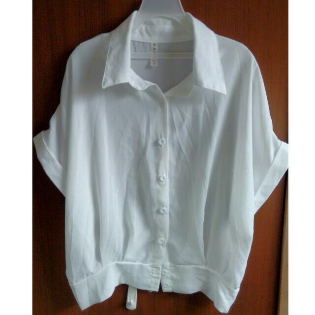 短版雪紡微透膚襯衫