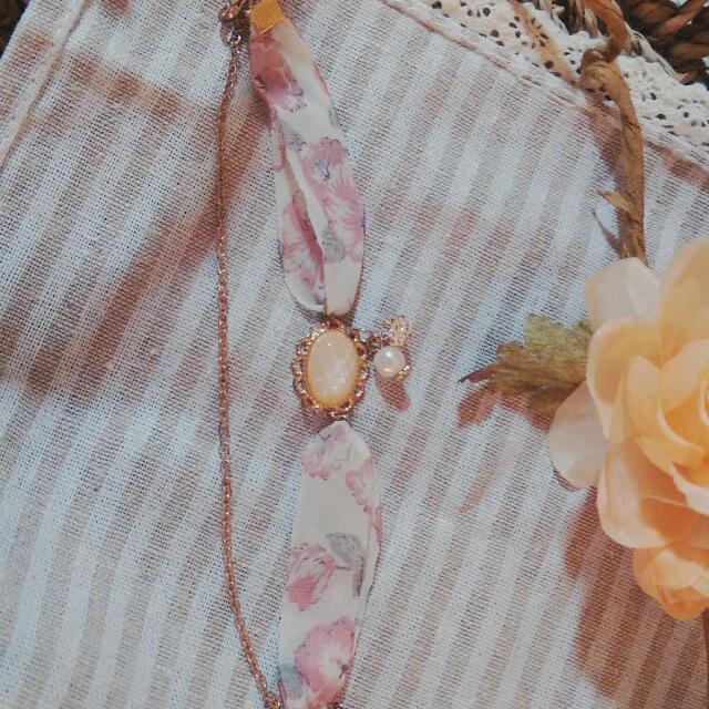 氣質雪紡粉橘寶石單鑽珍珠手鍊
