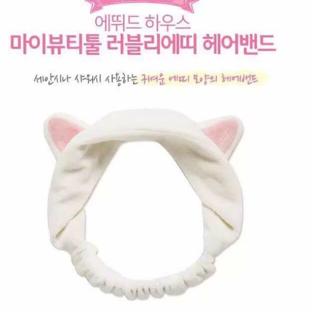 韓國童趣可愛超萌🐱耳朵短絨洗臉束髮帶