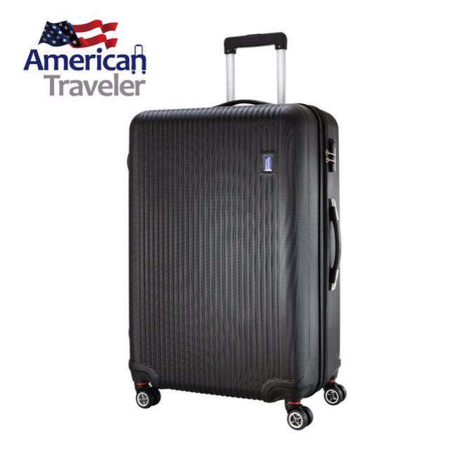[American Traveler] ABS 超輕量晶鑽條紋抗刮行李箱28吋 (尊爵黑)