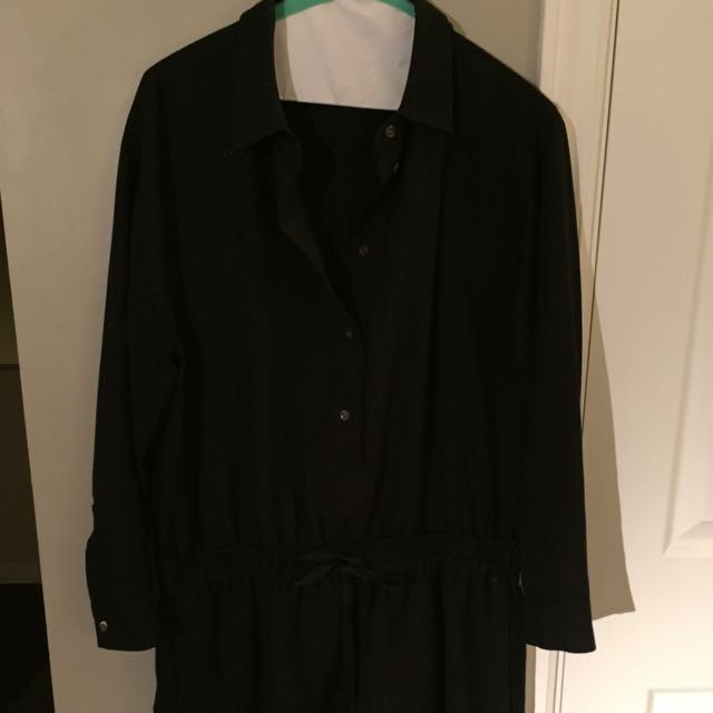 Black Linen/cotton Blend Classic Shirtdress From J Crew