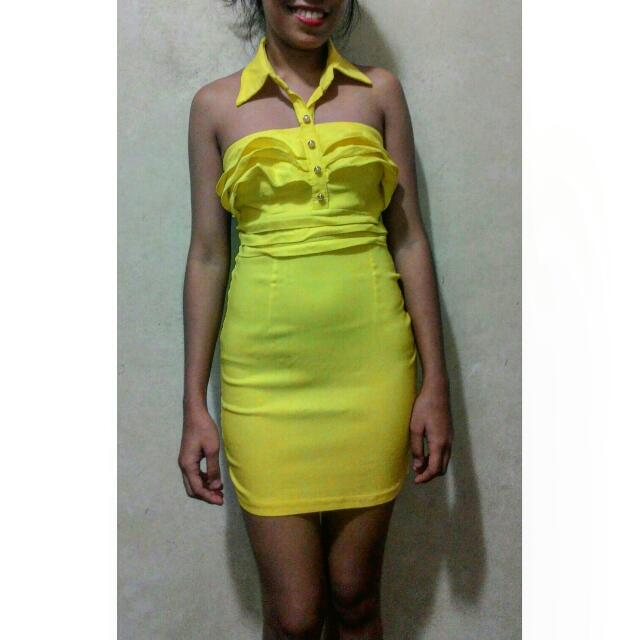 Body Con Dress - Yellow Green