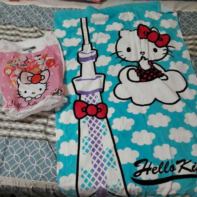 Hello  Kitty 絕版 晴空塔 毯子 浴巾 棉被