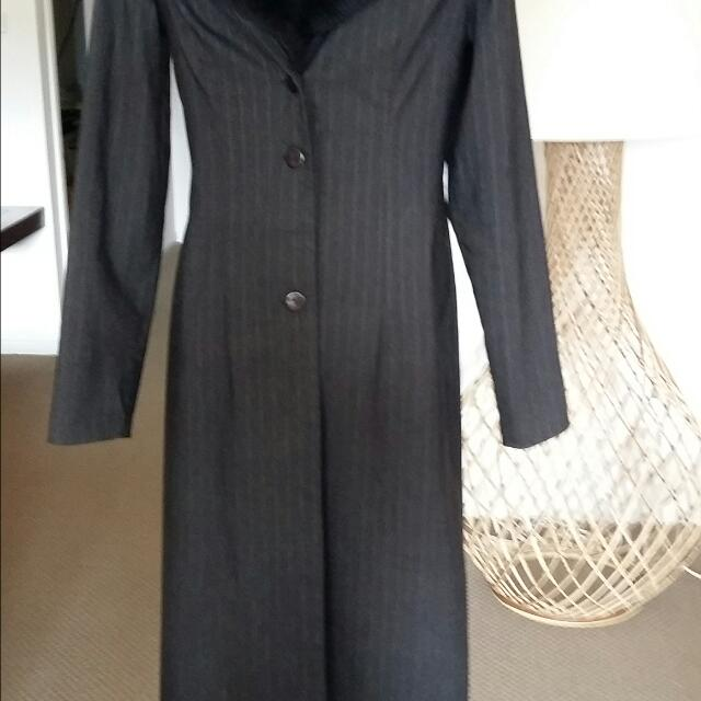 Long Pin Striped Charcoal Jacket. Faux Fur Removable Collar. Australian Made. Size 10