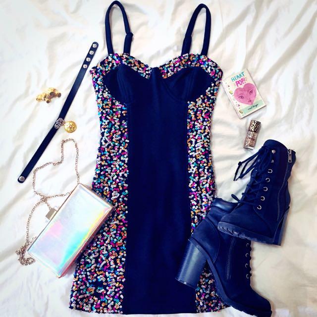 Mink Pink Sequin Bodycon Dress XS