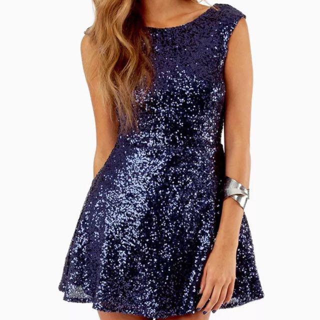 Tobi Navy Sequin Dress