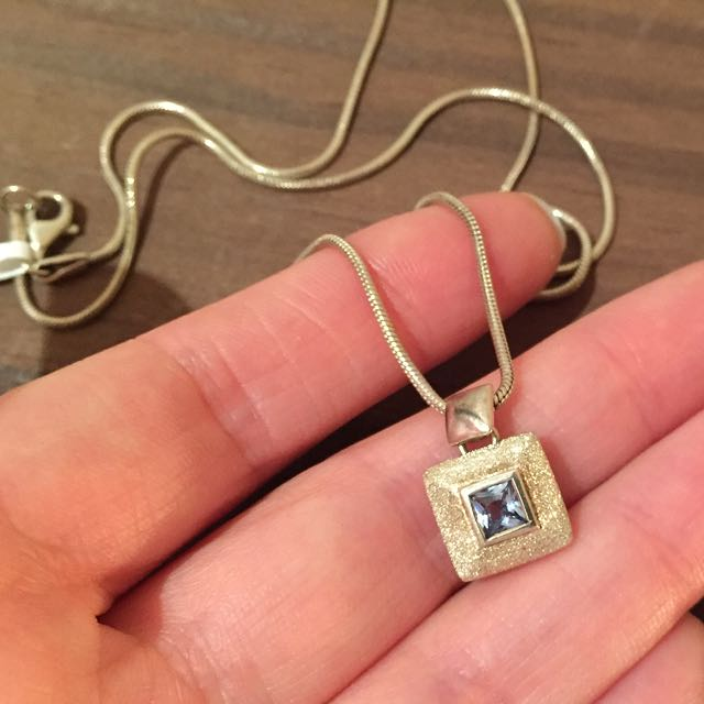 NWT Sterling Silver Aquamarine Necklace