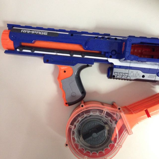 Rampage Nerf gun with darts only (w/o Drum Mag), Toys & Games on Carousell