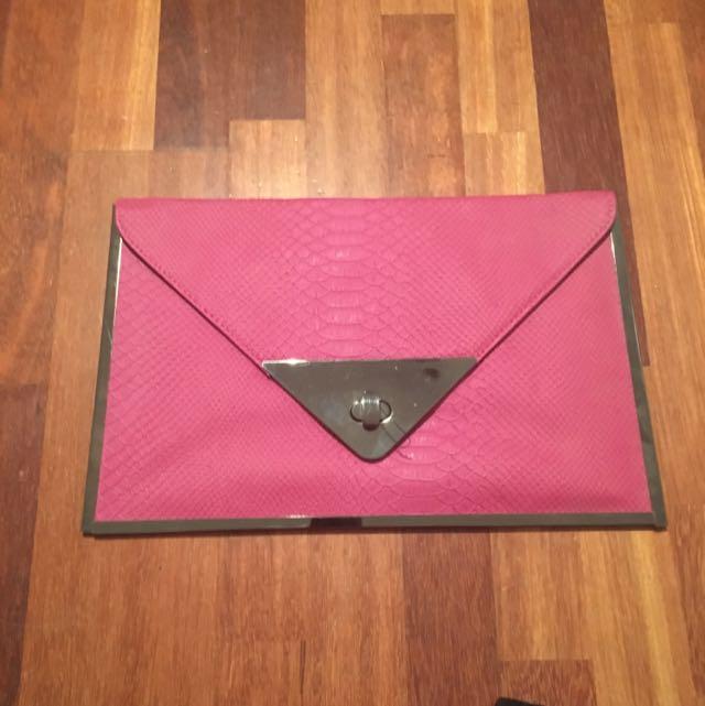 Sportsgirl Pink Envelope Clutch
