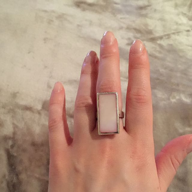 Sterling Silver Pink Oblong Stone Ring Size 7