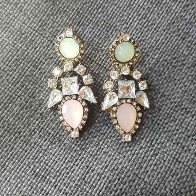 Studded Gem Dangle Earrings