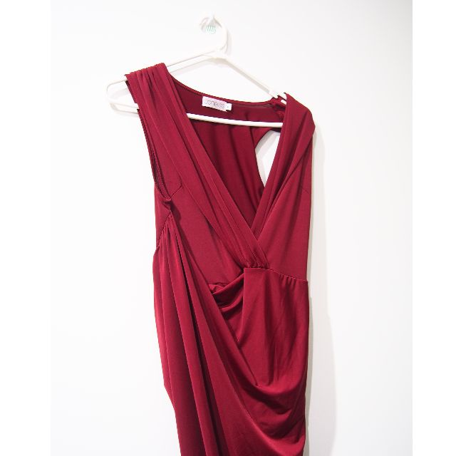 Stunning boutique wine red wrap dress midi Size M Party dress from Xenia