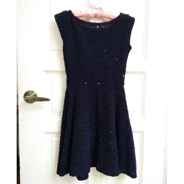 (RESERVED) Atmosphere Boat Neck Navy Blue Dress Sequin XS