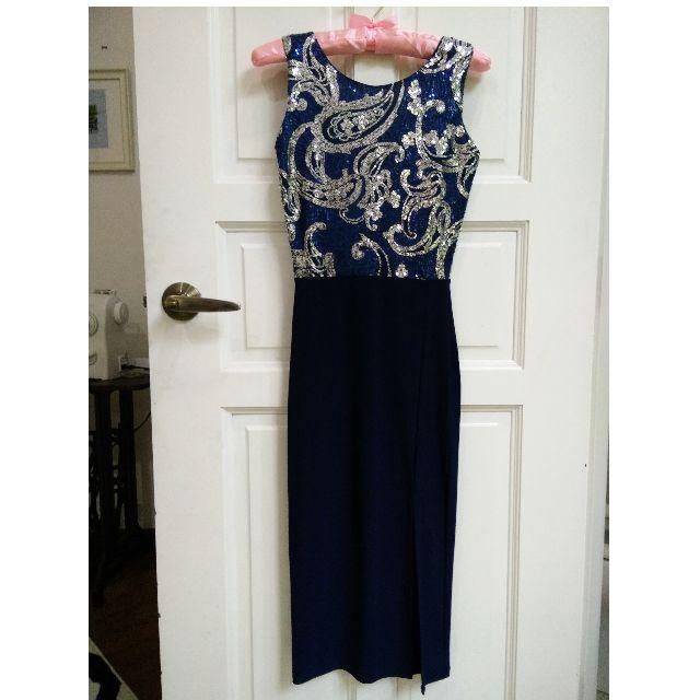 BooHoo London Navy Blue Sequin Midi Thigh Slit Dress XXS