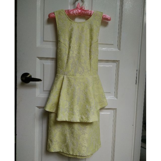 H&M Yellow Peplum Cross Back Lace Dress XS
