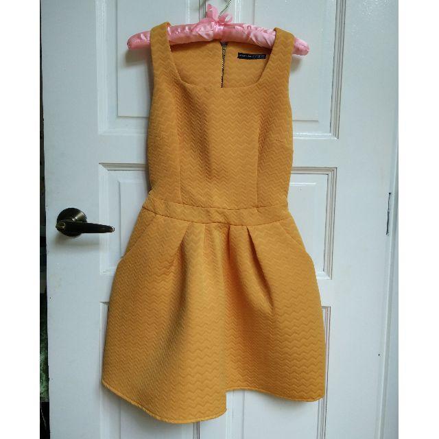 (SOLD) Orange Skater Chevron Dress XS