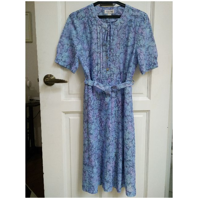 Vintage Belted Periwinkle Lilac Lace Dress S