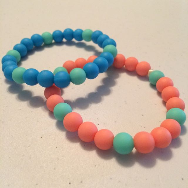 Teal Accent Teething Bracelets