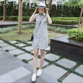meierq 灰色無袖襯衫背心裙洋裝西裝