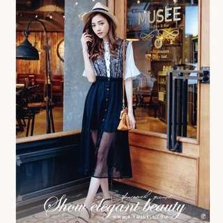 轉售 4-TWINKE慵懶華貴V型蕾絲雪紡連身長洋裝