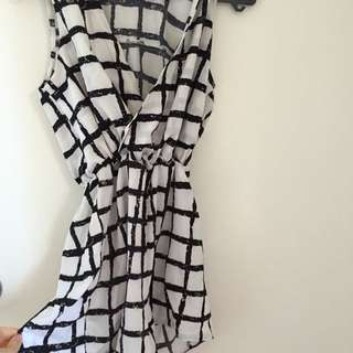 Black And White Check Playsuit