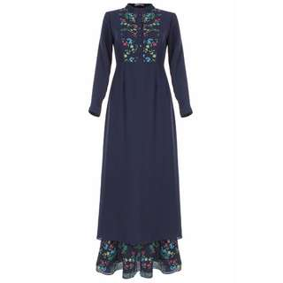 Elisa Bohemian Floral Jubah Dress (Navy)