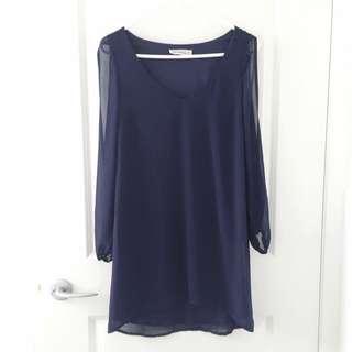 Navy Blue Long Gap Sleeve Dress