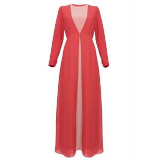 Mahveen Two Tone Jubah Dress (Light Beigebrick)