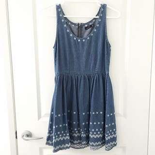 Cute Denim Flower Zip Up Dress