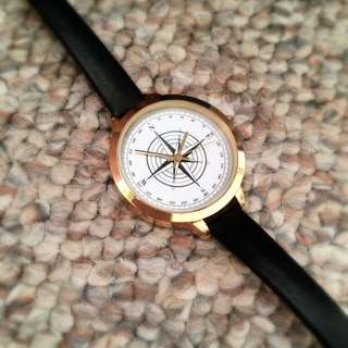 Compass Styled Leather Band Watch