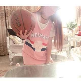 粉色控美人魚貝殼球衣